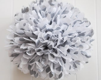Metallic silver polka dot tissue pom pom .. New Years  / NYE .. Wedding Decoration
