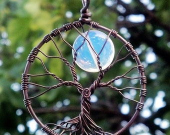 Tree of Life Pendant With Moon - Oxidized Copper and Opalite - Original Design by Ethora
