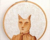 Catrine (printed embroidered textile scene in wood hoop)