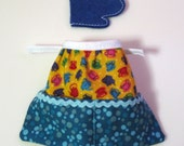 Barbie Clothes - Blue and Yellow Print Handmade Apron and Felt Baking Mitt - Barbie Kitchen Accessory