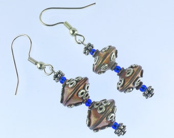 Silver and copper ethnic style earrings, dangle earrings with Bali style beads and blue accents