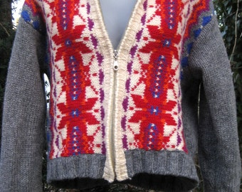 larger EXPRESS WOOL POINSETTIA Snow Flowers sweater from Express Store, zip up outdoor turtleneck