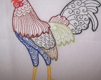 Machine Embroidery Design- Rooster Colorline #05 with 4 sizes Included!