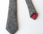 Harris Tweed Skinny Tie - Black/Grey Herringbone