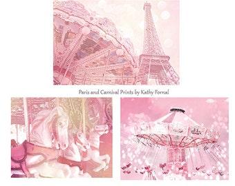 Paris Carousel Carnival Print Set, Dreamy Baby Girl Nursery Decor, Paris Eiffel Tower Carousel, Paris Carousel Horses, Eiffel Tower Carousel