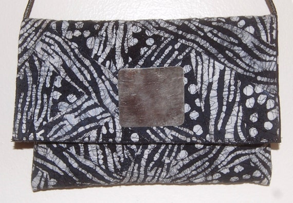 Handmade OOAK Black & White Batik Animal Print Purse
