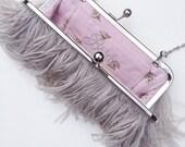 Dove Grey Ostrich Feather Clutch -as seen in BRIDES magazine, custom bridal purse, monogram