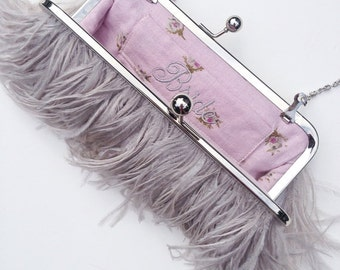 Dove Grey Ostrich Feather Clutch -as seen in BRIDES magazine, custom bridal purse, monogram