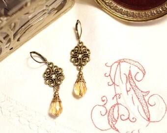 bronze flower ornament earrings, topaz, dangling earrings, Boho, spring, summer, oriental, elegant, vintage style