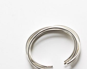 """Set of five minimalist silver cuffs with a modern matte finish, sturdy and very striking when stacked together - """"Luna Cuffs - set of 5"""""""