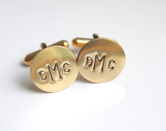 Personalized Gold Cufflinks - Personalized Gold Cuff Links - Monogram Gold Cuff Links - Initial Cuff Links - Celebrate Today Cuff Links