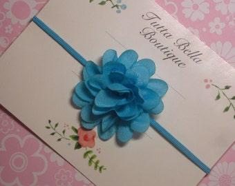 Turquoise Flower Headband, Mini Blue Baby Headband, Blue Hair Clip, Turquoise Hair Bow, Baby Bow, Toddler Headband, Newborn Headband