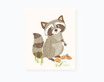 raccoon wall art - woodland art for kids - nursery wall decor for children, baby art