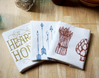 3 Pack - Flour Sack Towels - Hand Screen Printed