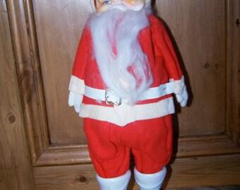 Vintage, Santa Claus, Red Outfit, Rubber Face, Retro Christmas, Christmas Decor, Santa Doll Figurine, Christmas Collectible