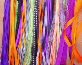 RIBBON ASSORTMENT - 20 Yards, Halloween Inspired Colors - orange, black, purple, white, lime green: scrapbooking, cards, craft, sewing, trim