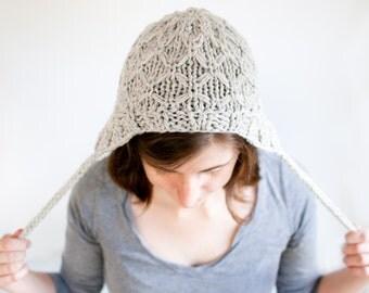 READY TO SHIP - Chunky Wool Knit Winter Earflap Hat, Pocosin Hat in Oatmeal Gray