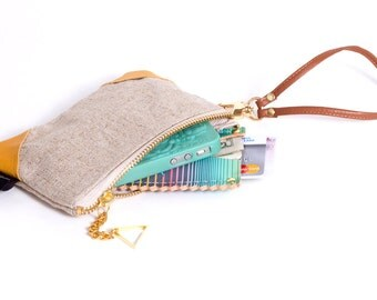 Small Wristlet Triangle Leather Applique Brass Zipper Closure 40 Colors to Choose From Bridesmaid Wristlet 15% discount on orders of 5+ bags