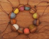 Felted Wool Acorn Ornaments in Pastel Colors,  also available without hangers