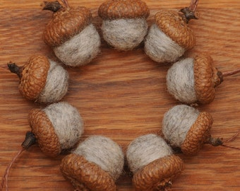 Gray Felted Wool Acorns or Acorn Ornaments