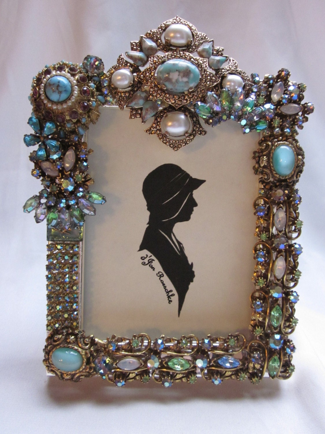 Vintage Jewelry Embellished Picture Frame Rhinestones Faux