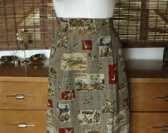 Vintage 90s 50s Revival Houndstootth and Hunting Scene Midi Skirt M Free Shipping