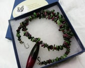 Necklace, 17in, Ruby-in-Zoisite, Quartz   4853