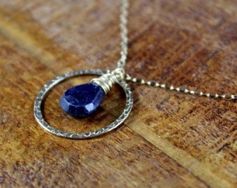 NOW REDUCED - Proper Pirouette - Midnight Navy Sapphire faceted pear and 14k Gold Filled Hammered Circle Charm