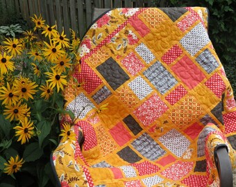 Lap Quilt, Baby Quilt, Pieced Rectangles, Yellow, Grey, Coral