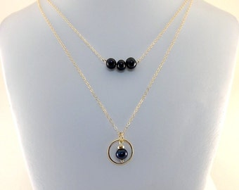 Black Pearl Double Necklace - 14k Gold Filled Necklace - Black Freshwater Pearl Necklace - Gold Necklace -Layered Necklace -Wedding - N067