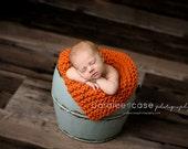 Newborn Photography Prop Mini Blanket - Pumpkin Orange