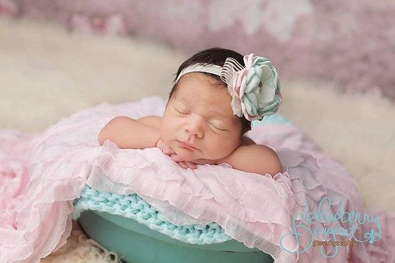 Newborn Wrap: Newborn Photo Prop, Stretch Wrap, Knit Wrap, Ruffle Wrap, Mini Blanket, Basket Stuffer, Basket Filler, Photography Prop Pink