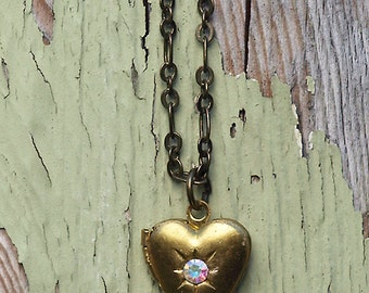 Brass Heart Locket Necklace, Bohemian