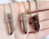 Single Rough Smoky Quartz Crystal Necklace - Point Spike Layering Points Spikes Clear Smooth Natural Drop Gold Silver Vintage Brass Chain