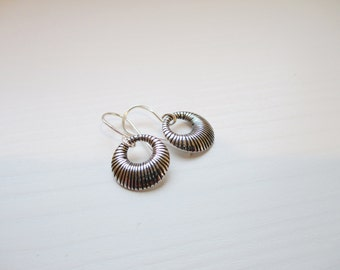 Petite Ridged Hoop Earrings - Sterling Silver SMALL Ridged Hoop Earrings