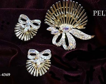 FREE SHIP Pell 50s Brilliant Rhinestones Brooch and Earrings Set (4-4369)
