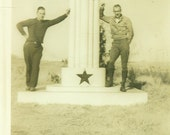 So You Want To Be A Texan Men Standing on Texas Sign Border Marker 1930s Vintage Black White Photo Photograph