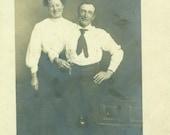 Conlen Texas Happy Couple Husband Wife Standing Laugh RPPC Real Photo Postcard Antique Vintage Black White Photo Photograph