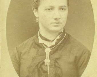 Victorian Woman Jersey City Heights NJ CDV Fantastic Hair Antique Vintage Black White Photo Photograph