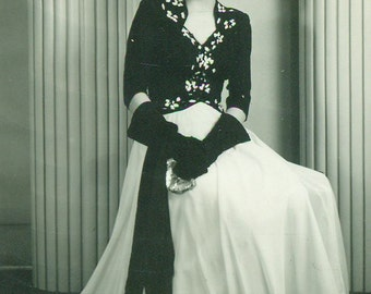 1940s High School Girl in Formal Gown Dress Gloves Dance Portrait 40s Vintage Black and White Photo Photograph