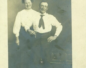 Conlen Texas Happy Couple Husband Wife Standing Laugh RPPC Real Photo Postcard Antique Vintage Black White Photo Photograph
