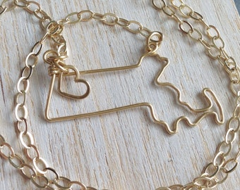 Massachusetts Necklace- Massachusetts State Necklace- Personalized Gift- Gold or Silver - Home State Necklace - State Necklace