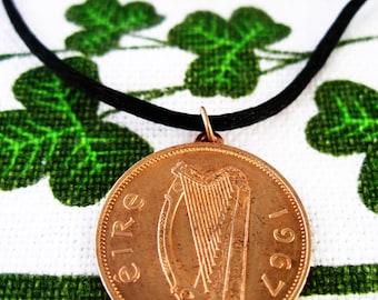 1967  Irish Half Penny Birth Year Necklace-1967 Irish Half Penny