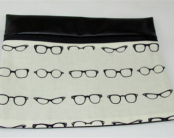 CLUTCH - Retro Glasses  (Pleather/ Cotton) **handmade**Kindle**iPad mini** Case**