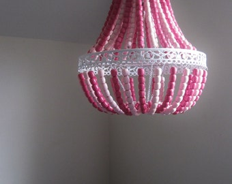 Empire Two Toned Pretty in Pink Wood Beaded Chandelier MADE TO ORDER