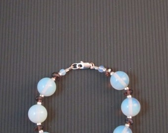 Opalite (Sea Opal) and Czech Firepolish Crystal Bracelet
