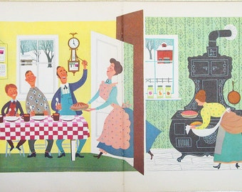 Freshly Baked Pie 1949 illustration page Alice and Martin Provensen baking pastry retro kitchen wall decor for framing - Free U.S. shipping