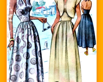 Vintage 40's McCall Pattern 7248 // Beautiful Figure Flattering Midriff Halter Dress // Size 10 Bust 28.5