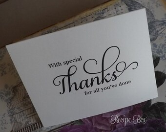 Thank you for all you ve done special thank you card wedding card