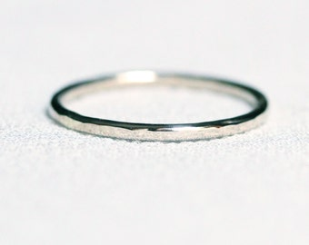 Select a Gold - Simple Thin 14k Gold Hammered Wedding Band - Solid 14k Green or White or Yellow or Rose Gold Band Ring Delicate Dainty Thin